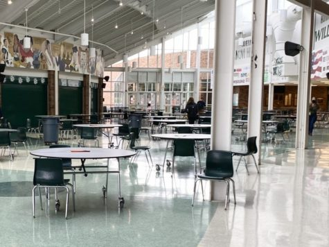 The school cafeteria, where Student Council usually hosts homecoming festivities, is empty due to the virtual nature of Hoco this year.